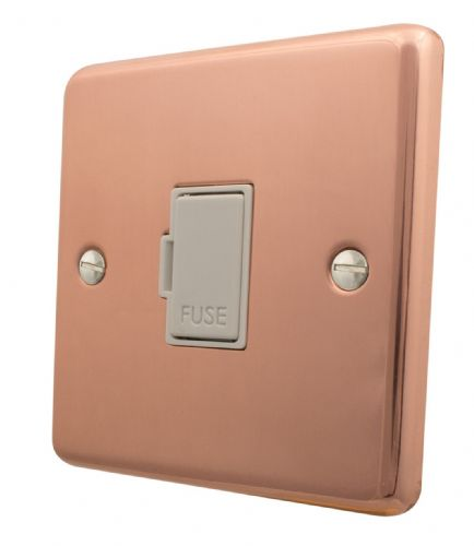 G&H CBC90W Standard Plate Bright Copper 1 Gang Fused Spur 13A Unswitched